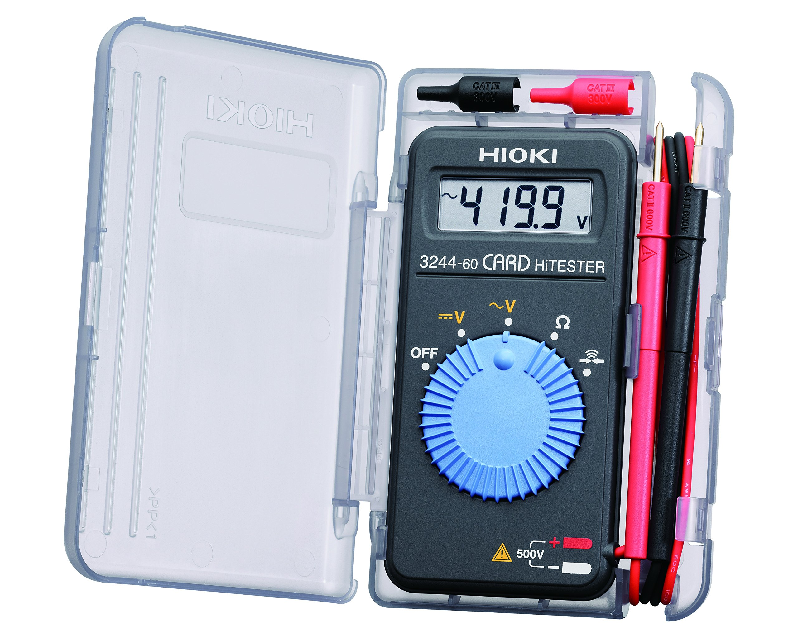 Hioki 3244-60 Card HiTester and Digital Multimeter, 41.99 Megaohms Resistance, 500V AC/DC Voltage