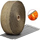 """Exhaust Wrap Titanium LIBERRWAY 2""""x50Ft Exhaust Heat Wrap Tap Header Glassfiber Wrap Kit for Car Motorcycle with 10 Stainless Ties"""