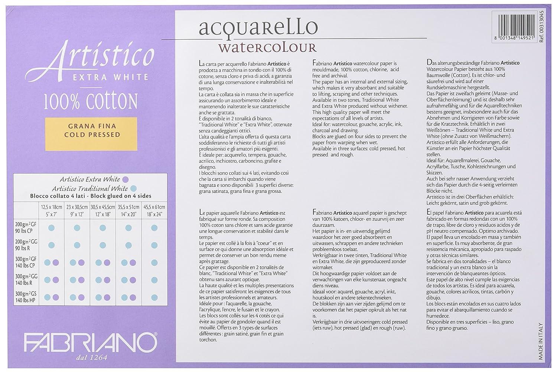 Extra White Fabriano Artistico 140 lb Cold Press 20 Sheet Block 12x18