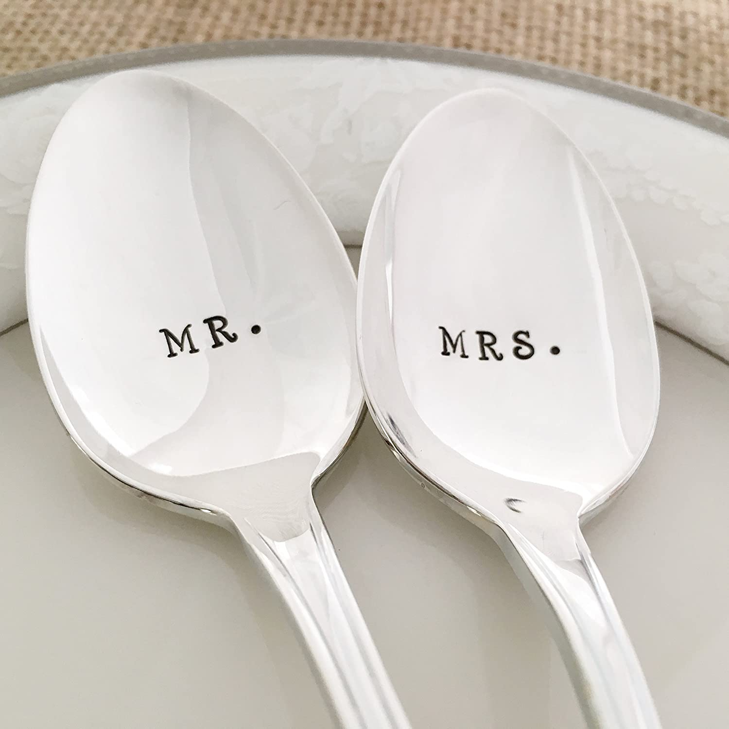 MR and MRS: long spoon set, hand stamped vintage, croydon