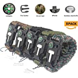 Paracord Survival Bracelet, Poonning With Flint Fire Starter Scraper, Compass Whistle for Hiking Camping Emergency ,5 in 1 Climbing Kit