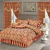 Ruby Burgundy Double Quilted 7 Pieces Bedspread Modern