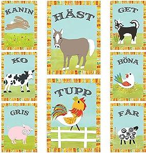 Farm Nursery Art in Swedish - Vintage Farm Animals - Set of Eight 5x7 Inches Wall Cards, Nursery Decor, Playroom Decor, Nursery Wall Art, Bunny, Sheep, Pig, Rooster, Hen, Cow, Horse, Goat