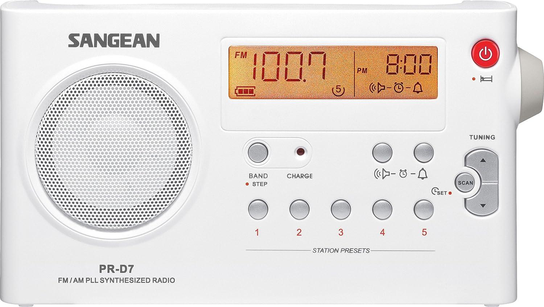 Sangean PR-D7 AM/FM Digital Rechargeable Portable Radio (White) Sangean - CA