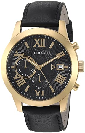 Guess Classic Black Genuine Leather Chronograph Watch With Date Color Black Model U0669g4