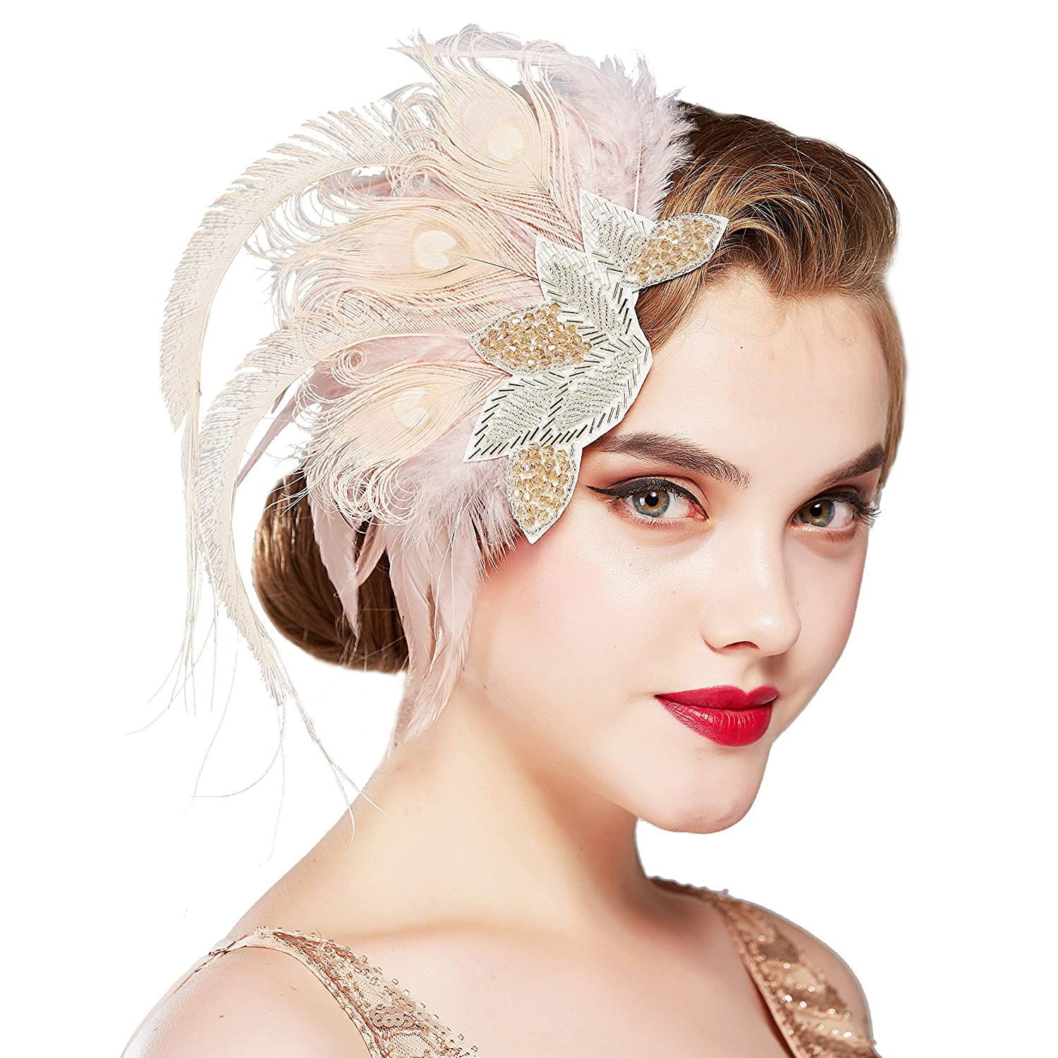 Gatsby Feather Headpieces Flapper 20s Retro Hair Clip Fascinator Prom Dance