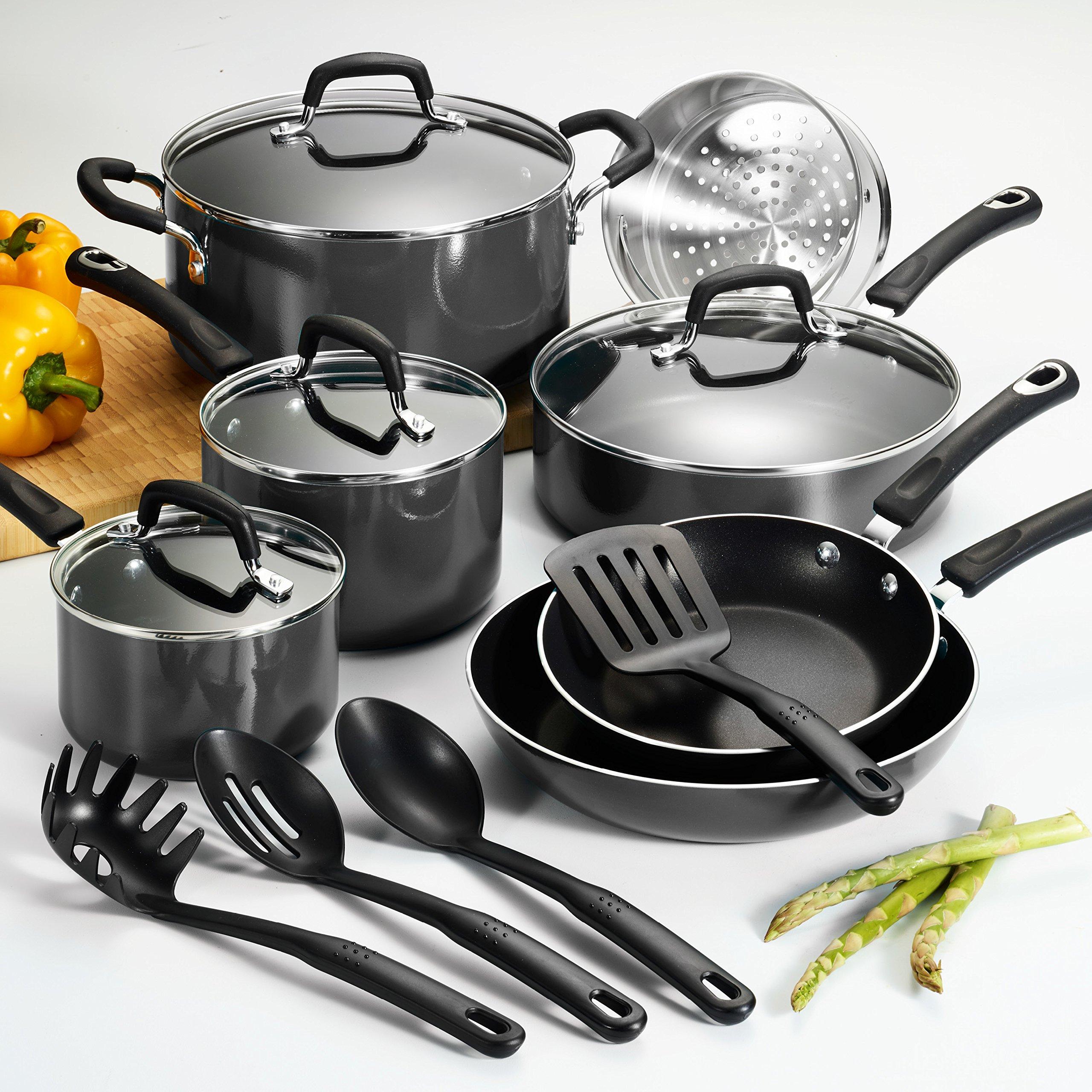 15-Pc Heavy Gauge Aluminum Vessels Teflon Interior Nonstick Grey Cookware Set