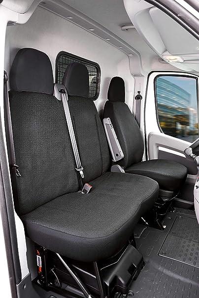 Walser 10537 Autoschonbezug Transporter Passform Stoff Sitzbezug Anthrazit Kompatibel Mit Fiat Ducato Einzel Doppelbank Auto