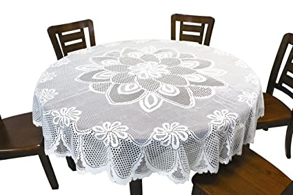 GEFEII Kitchen White Lace Tablecloth Table Linen Tablecloths For Party  Banquet Dining Wedding Decorations Round 70