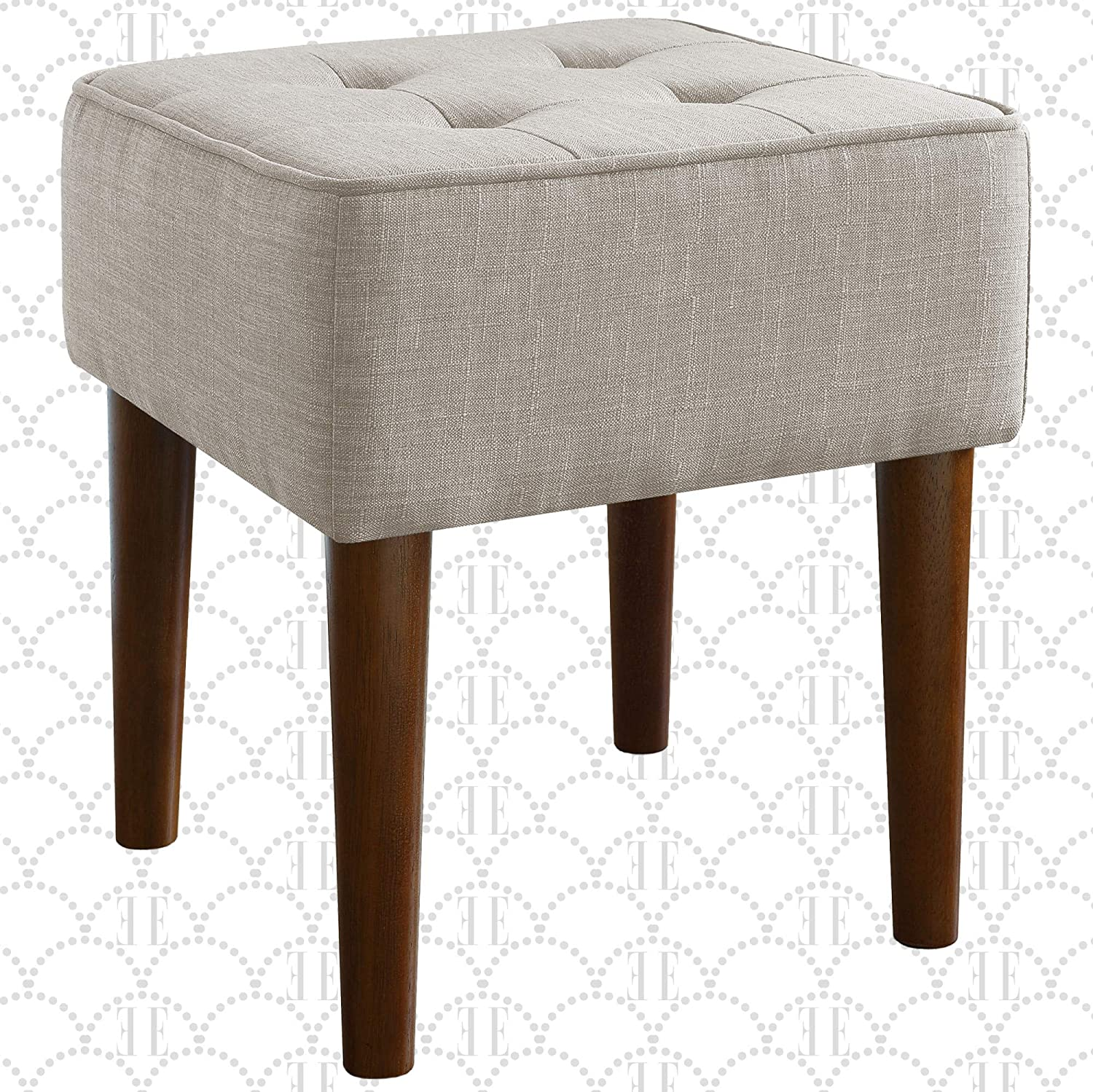 Elle Decor Aria Upholstered Ottoman Food Rest Stool with Classic Button Tufted Style, Extra Seating for Modern Home, Compact Size for Small Space, Light Gray