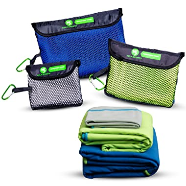 Microfiber Travel Towel Set of 3 Ultra Compact & Fast Drying, Outdoor Gifts Ideas, Lightweight and Space-Saving for Multi-Purpose Gym, Pool, Travel, Sports, Beach, Fishing, Boating or Camping