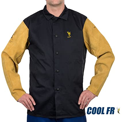 9aa457a6a38f Weldas COOL FR Welding Fire Retardant Dielectric Jacket - Cotton and  Leather Kevlar Sewn Sleeves - Navy Blue - Size L - - Amazon.com