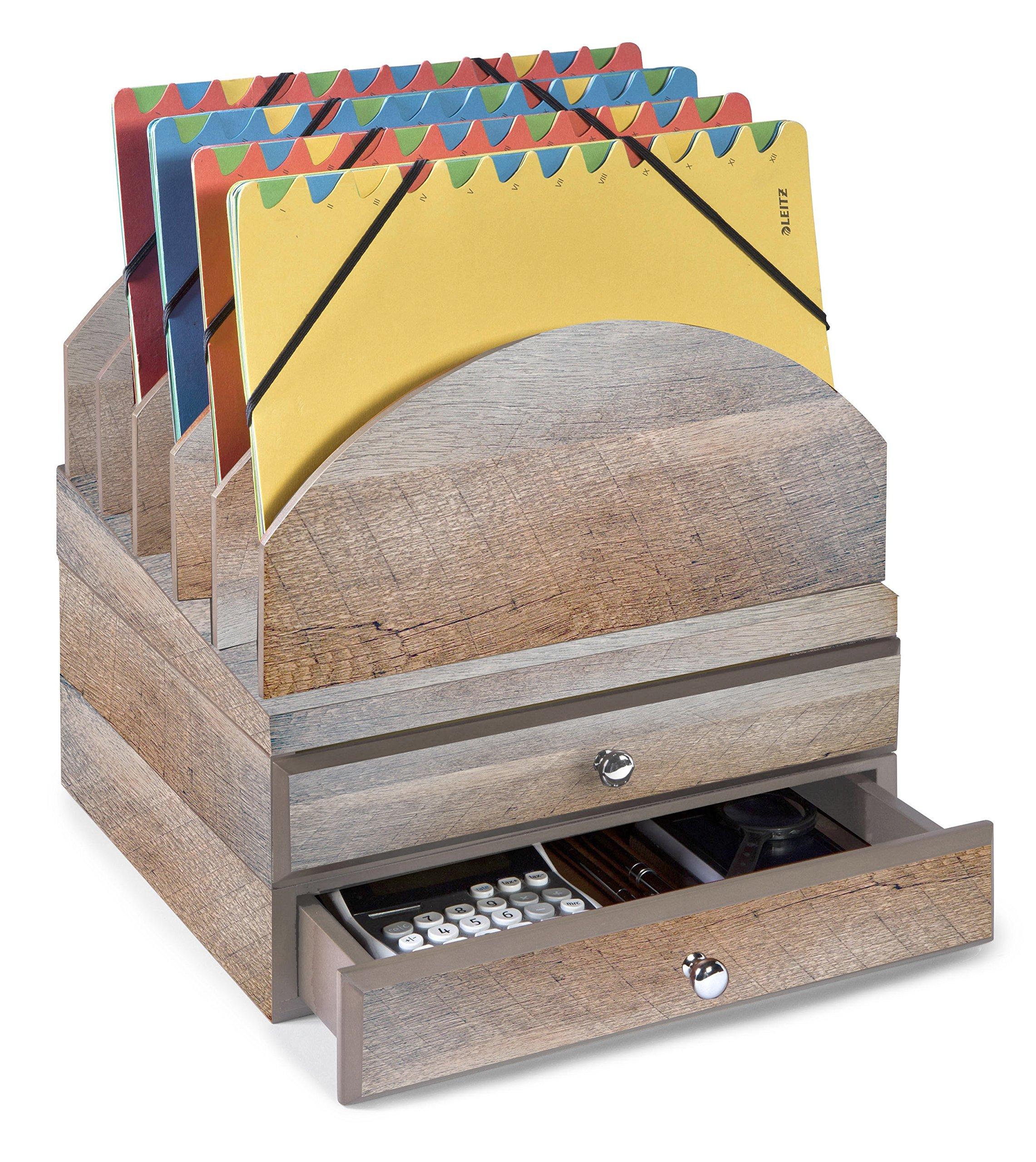Bindertek Stacking Wood Desk Organizers Step Up File & 2 Drawer Kit, Driftwood