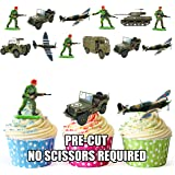Army Military Mix - Edible Stand-up Cupcake Toppers by AKGifts