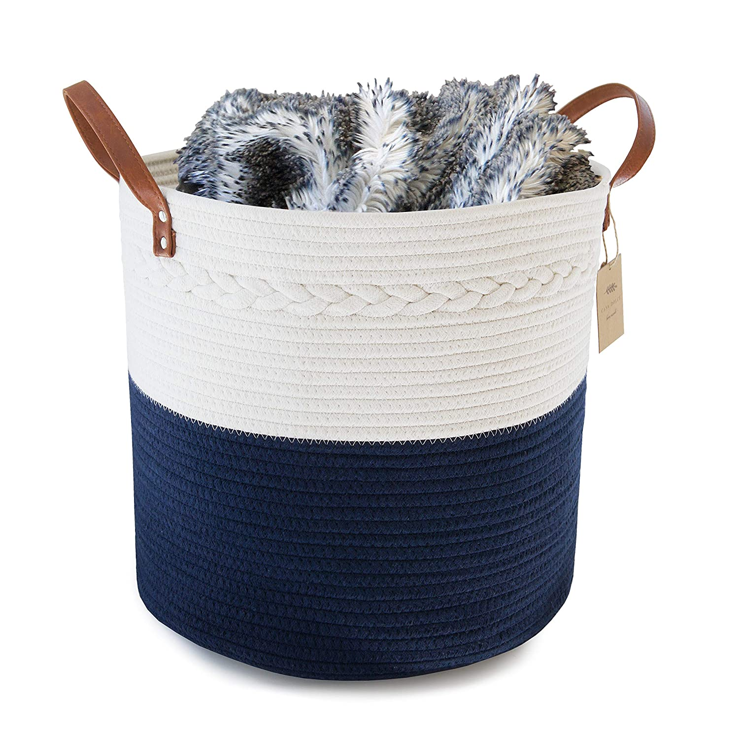 "Large Cotton Rope Storage Basket 15"" H x 13"" D - Home Decor Organizer for Laundry, Bath, Baby Care, Hamper, Nursery, Toys, and Blankets (Navy Blue and White) by Casa Dolce"