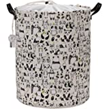 "Sea Team 19.7"" Large Size Stylish Panda Design Canvas & Linen Fabric Laundry Hamper Storage Basket with Premium PU Leather Handles for Kid's Room, Drawstring Cover with Waterproof Coating"