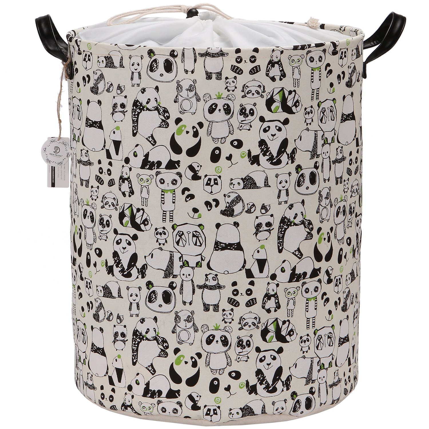 Sea Team Large Size Panda Design Canvas Fabric Laundry Hamper Collapsible Storage Basket with PU Leather Handles and Drawstring Cover for Kid's Room, 19.7 by 15.7 inches, Waterproof Inner