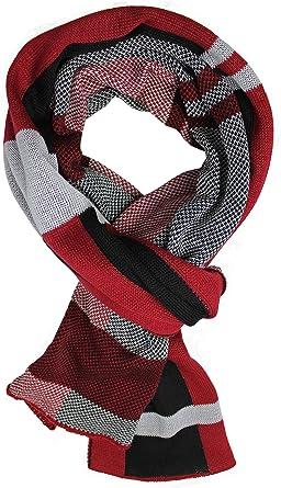 Bufanda de punto Bufanda de algodón Bufanda de mujer Check & Doubleface Rojo 180 x 27 cm Hecho en Alemania: Amazon.es: Ropa y accesorios