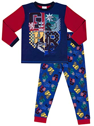 054ff8287 Boys Warner Bros Harry Potter Long Pyjamas Gryffindor Slytherin Ravenclaw  Hufflepuff: Amazon.co.uk: Clothing