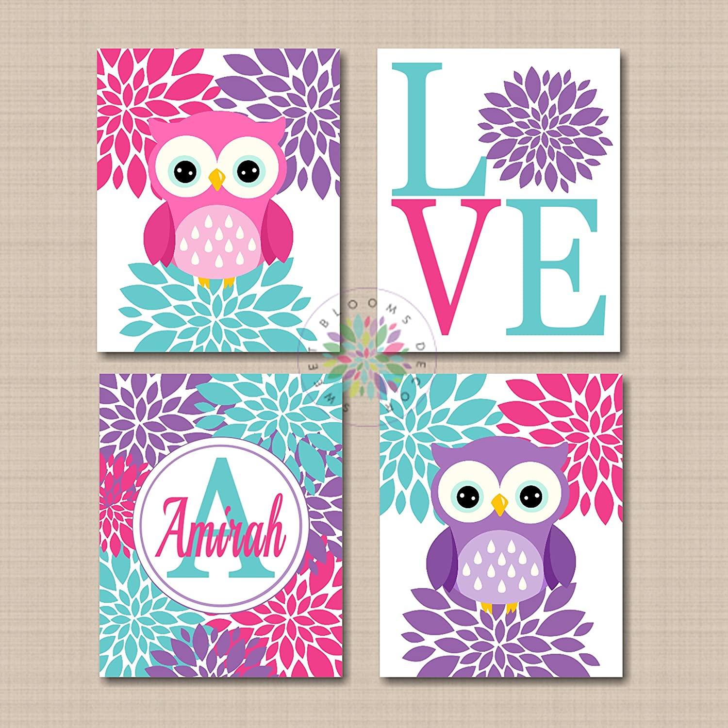 Amazon.com: Pink Purple Teal Owls Nursery Wall Art Girl Room ...