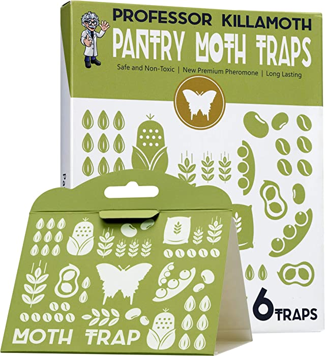 Professor Killamoth Pantry Moth Traps 6 Pack | Child and Pet Safe | No Insecticides | Premium Attractant