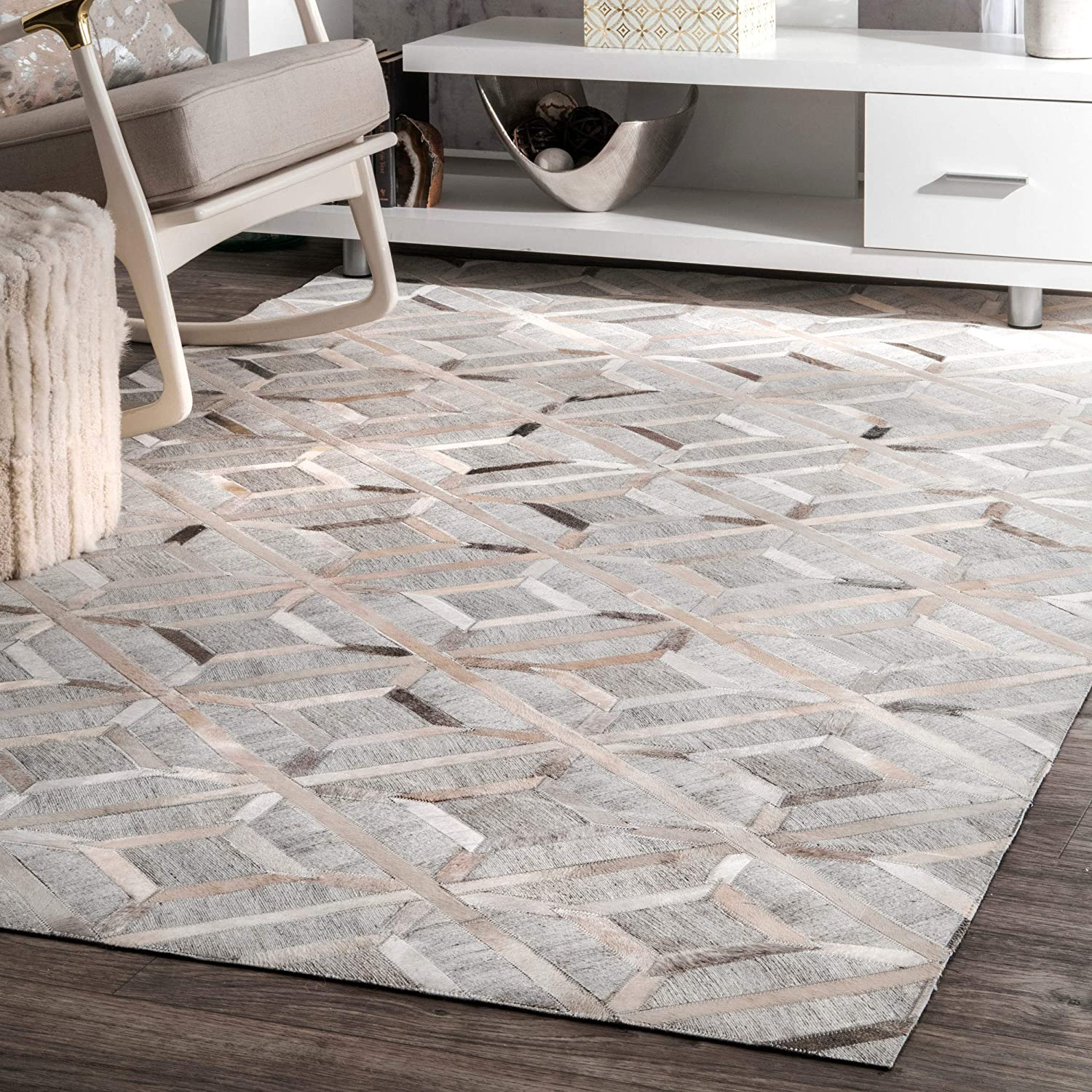 Nuloom Cowhide Chanda Area Rug 5 X 8 Gray Furniture Decor