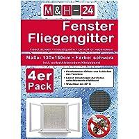 M&H-24 Fliegengitter-Fenster 130x150 cm in Schwarz mit Klettband - Moskitonetz Insektenschutz Individuell Kürzbares Fliegennetz Witterungsbeständig 4er Set