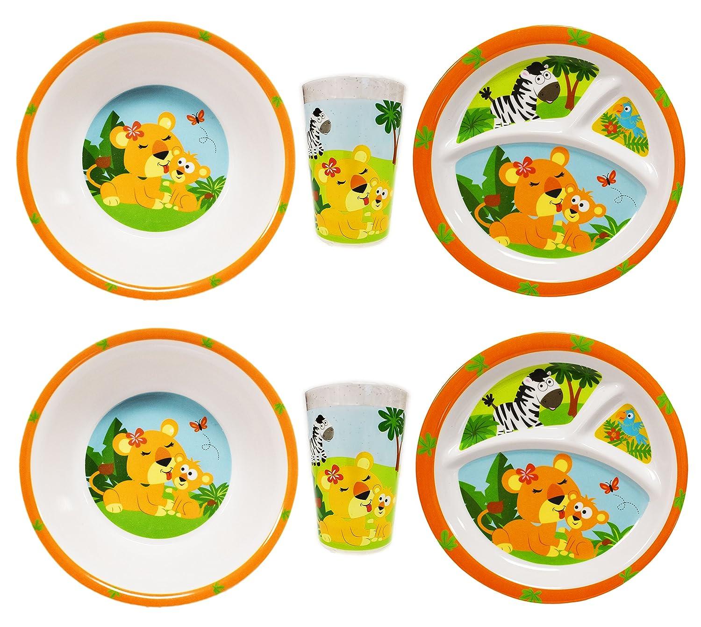 セットの子供の食器セット – 9 x 7inプレート、5.5 in Bowls、8オンスカップ – 愛らしいチーターLionessデザイン。Perfect Dinner Set for your Little Ones 。  Lioness 2 Pack B071WQJ6CQ