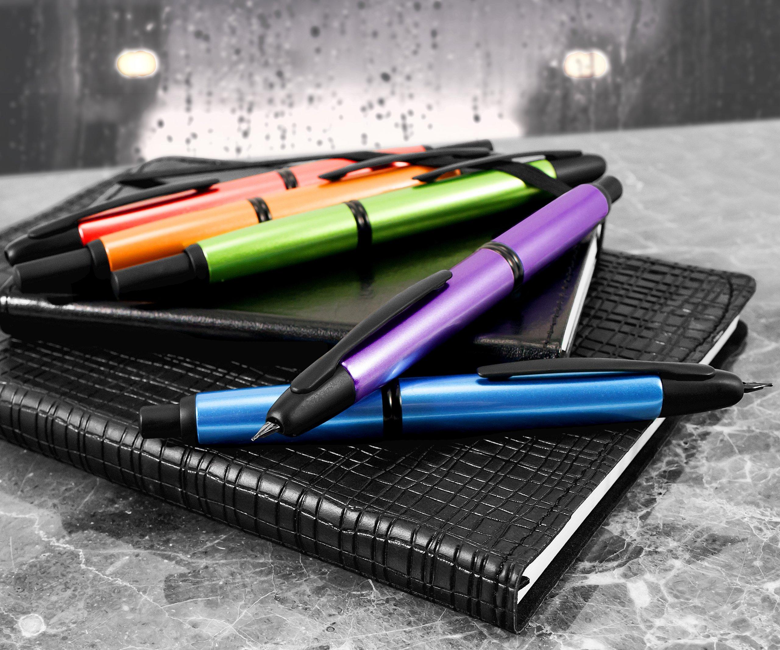Pilot Vanishing Point Metallics Collection Retractable Fountain Pen, Valley Green Barrel, Blue Ink, Medium Nib (61095) by Pilot (Image #7)