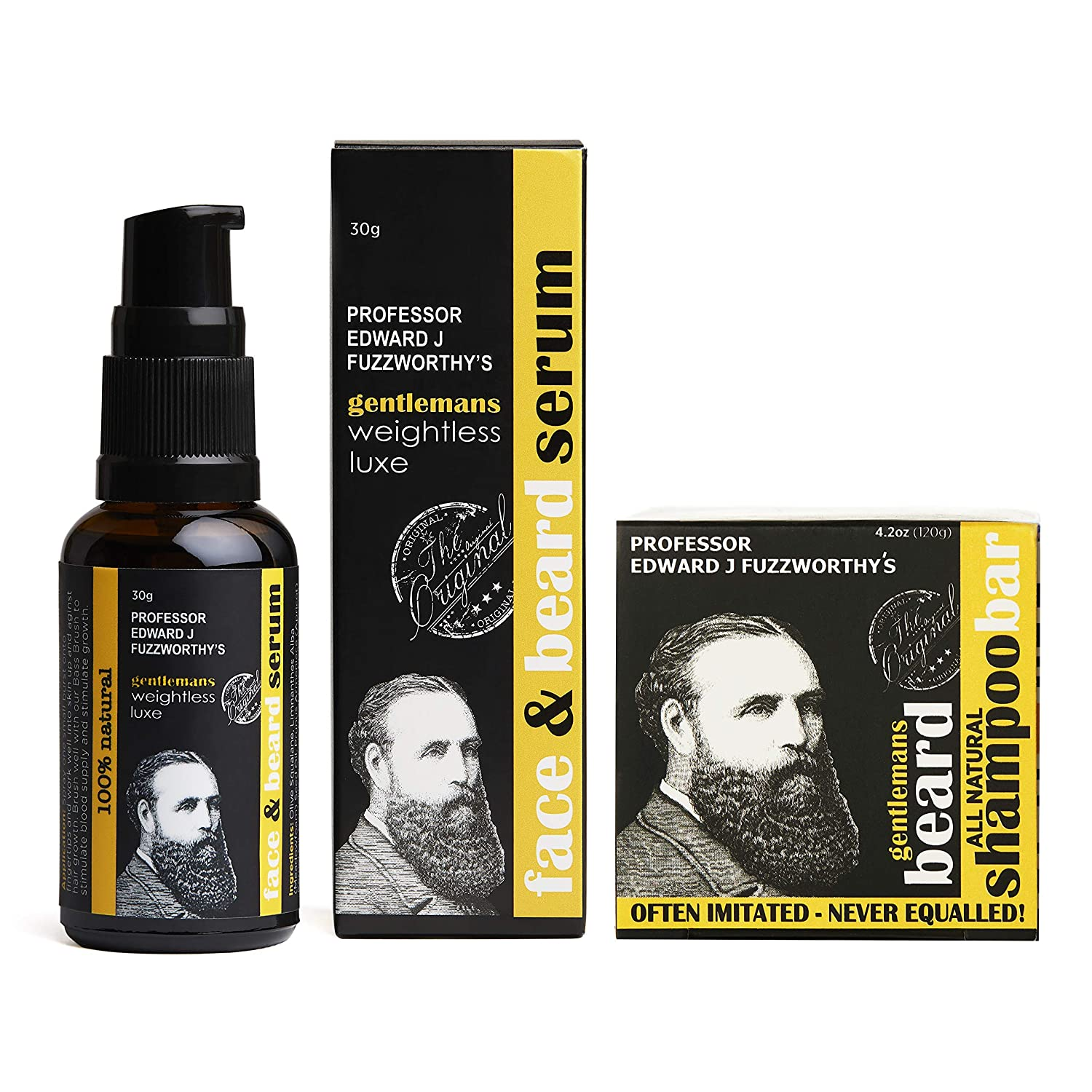 Professor Fuzzworthy's Beard SHAMPOO & NEW Face & Beard Oil Serum Kit for All Hair Types | Best Gift Set for Men | 100% Natural Essential Oils & Ingredients | Zero Waste Sulfate Paraben Plastic Free