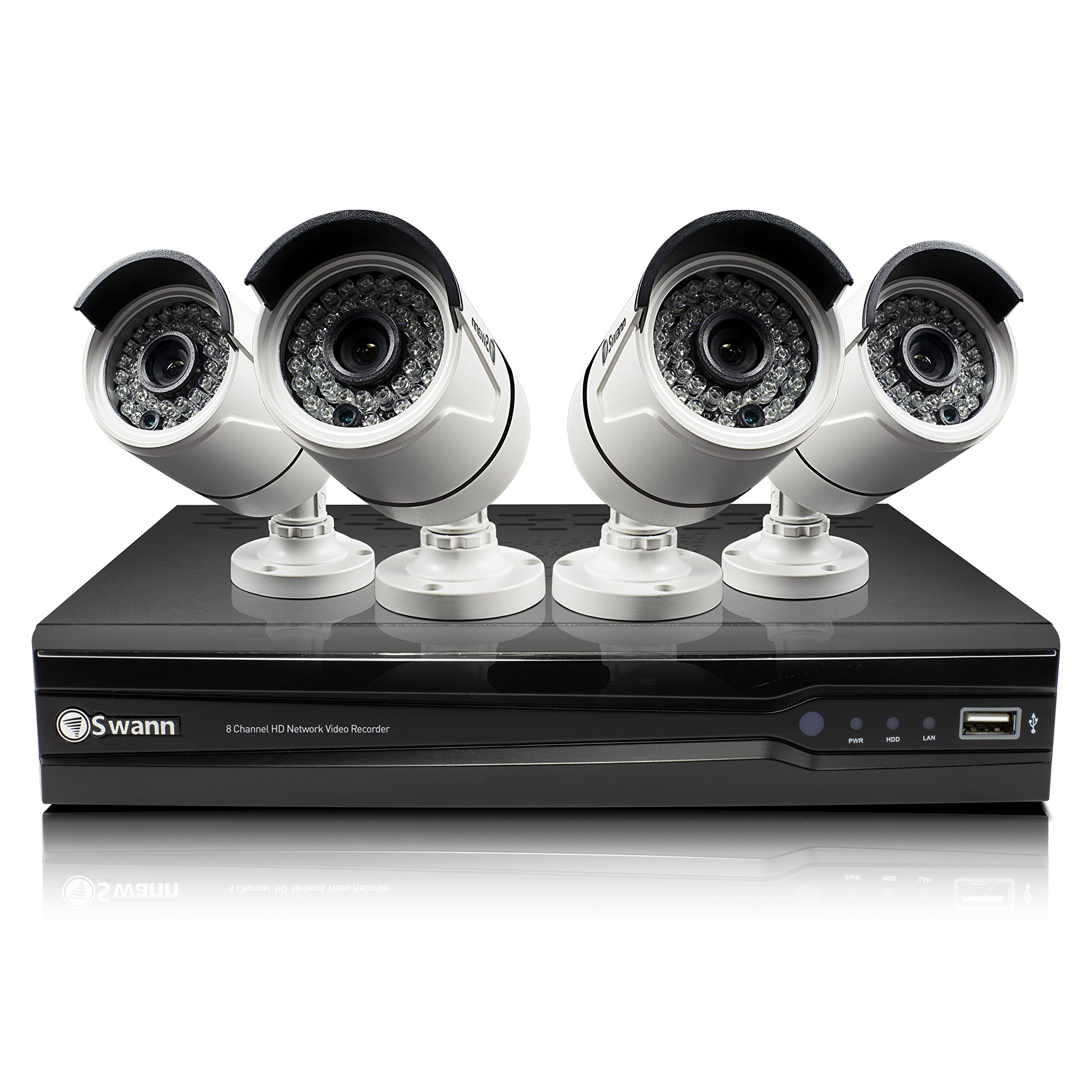 Swann 8 Channel 3MP HD IP NVR Security System with 4 3MP Cameras, 2TB HDD, and 100' Night Vision (SWNVK-873004)