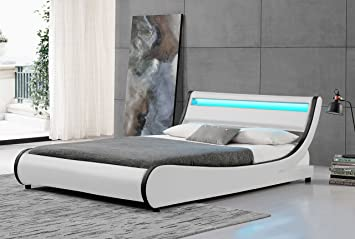 new arrival 433c3 aa0f8 Cherry Tree Furniture HEKA Designer LED Light Headboard WHITE Faux Leather  Upholstered Bed Frame Bedstead (4FT6 DOUBLE)
