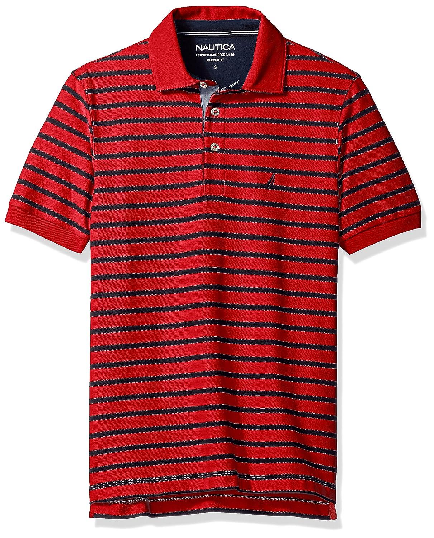 Nautica Mens Classic Fit Short Sleeve Striped Polo Shirt