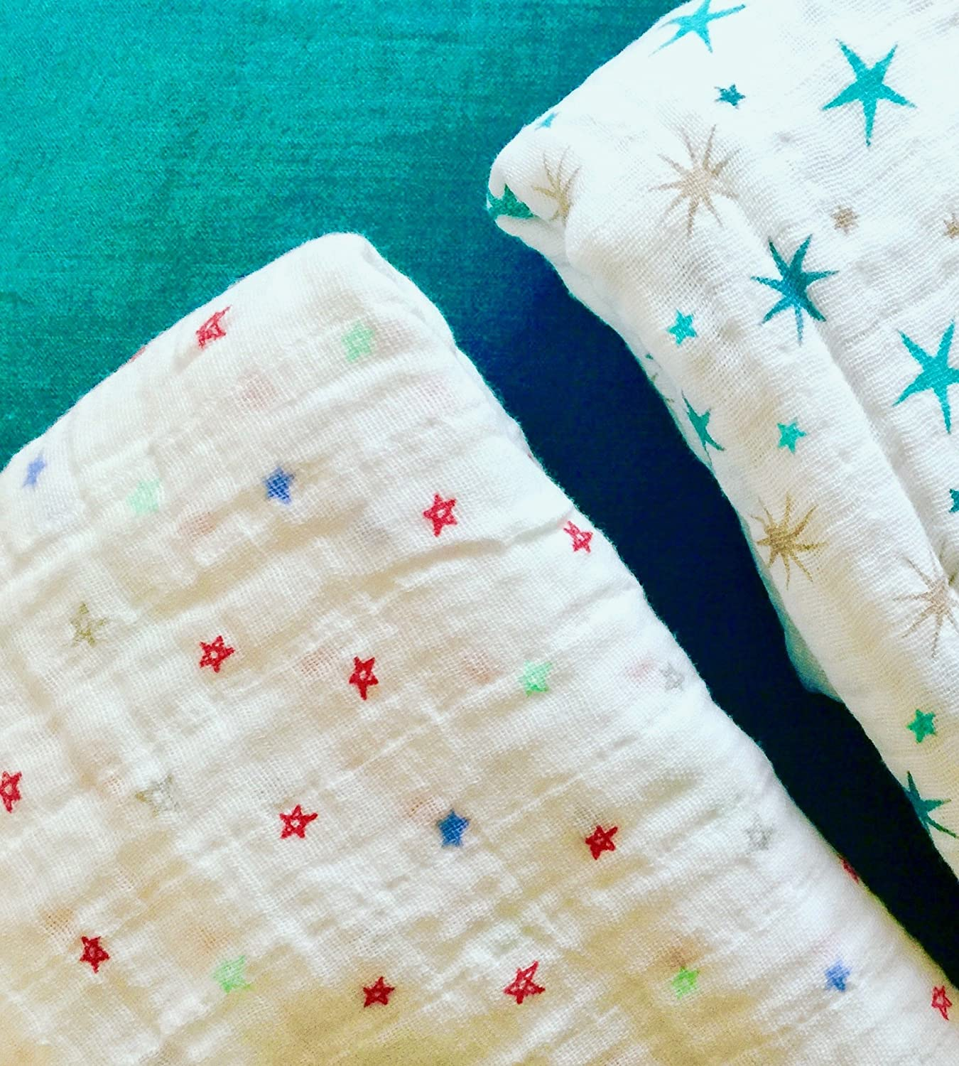 Baby Swaddling Blanket; Red Stars on White Cotton; XL Size Plus 2 Stroller Clips