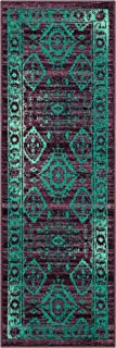 product image for Georgina Traditional Runner Rug Non Slip Hallway Entry Carpet [Made in USA], 2 x 6, Winberry/Teal