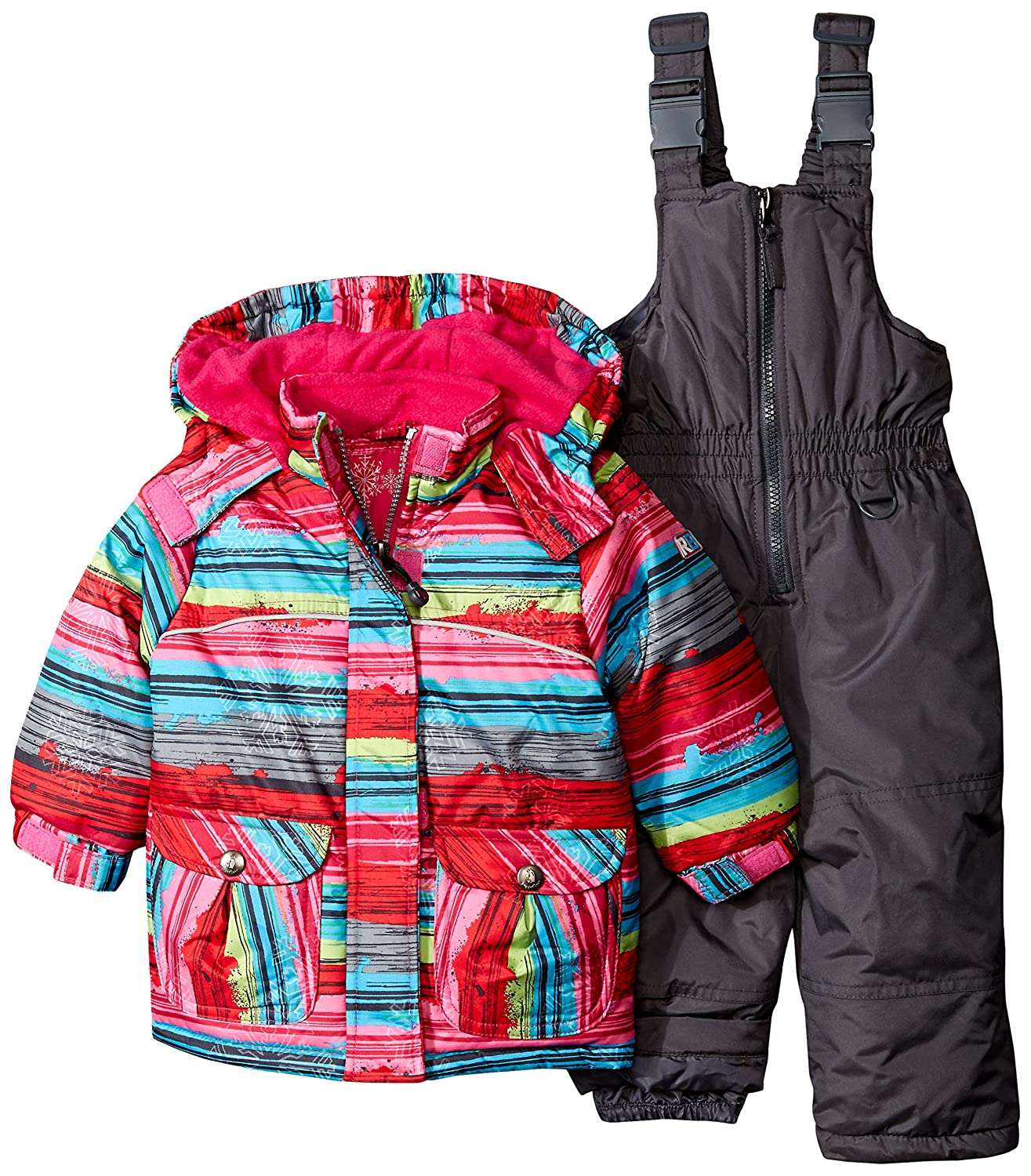 Rugged Bear Baby Girls' AO Striped Coat and Snowsuit Two-Piece Set Rugged Bear Baby - iApparel RG68006