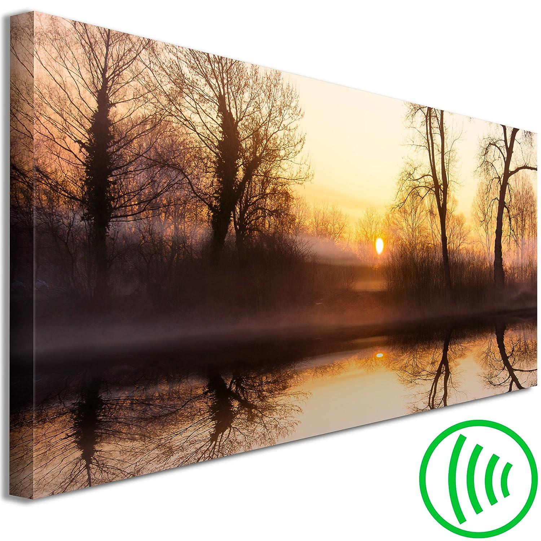 Decomonkey Akustikbild Landschaft Wald 135x45 cm 1 Teilig Bilder Leinwandbilder Wandbilder XXL Schallschlucker Schallschutz Akustikdämmung Wandbild Deko leise Natur Herbst