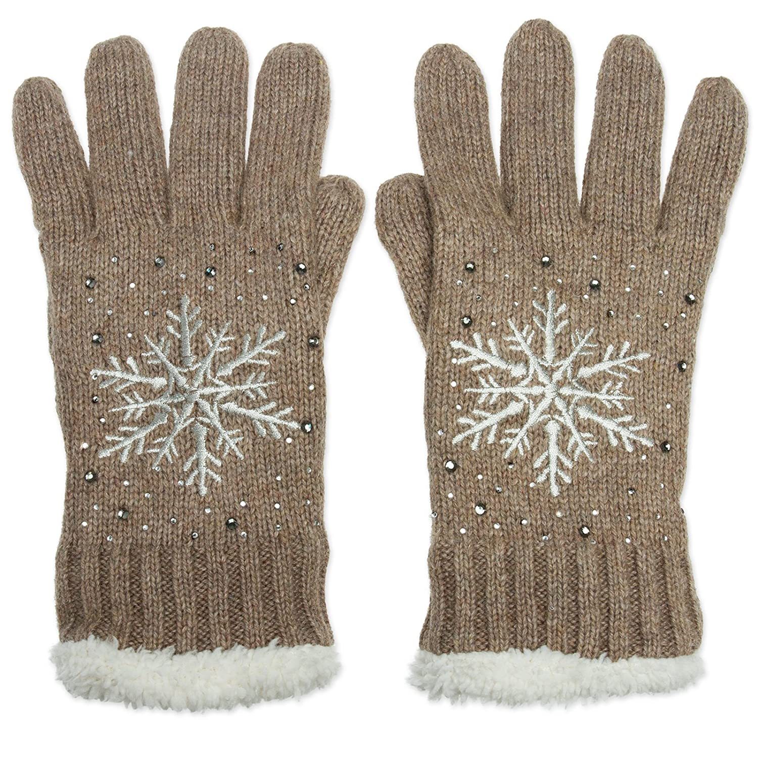 CASPAR GLV009 Women Knitted Thermal Winter Gloves with Snowflake Pattern and Strass