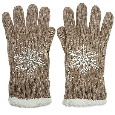 60e3ed5bbc283d CASPAR GLV009 warm gefütterte Damen Strick Handschuhe mit gesticktem  Eiskristall und dezentem Strass, Farbe: