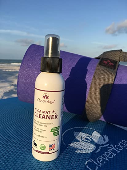 Clever Yoga Yoga Mat Cleaner Spray - All Natural Organic Yoga mat wash Cleaner - No Sticky Residue - Our Yoga mat Cleaner Spray Leaves Your Equipment ...