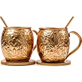 Carlsbad Copper 16-Ounce Solid Hammered Moscow Mule Copper Mugs with Copper Straws and Wooden Coasters (Set of 2)