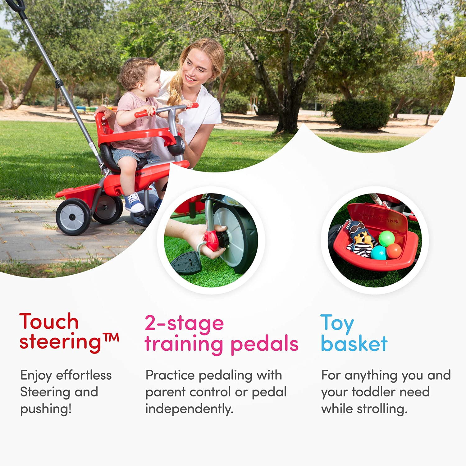 3 in 1 Multi-Stage Trike smarTrike Breeze Toddler Tricycle for 1,2,3 Year Olds Red