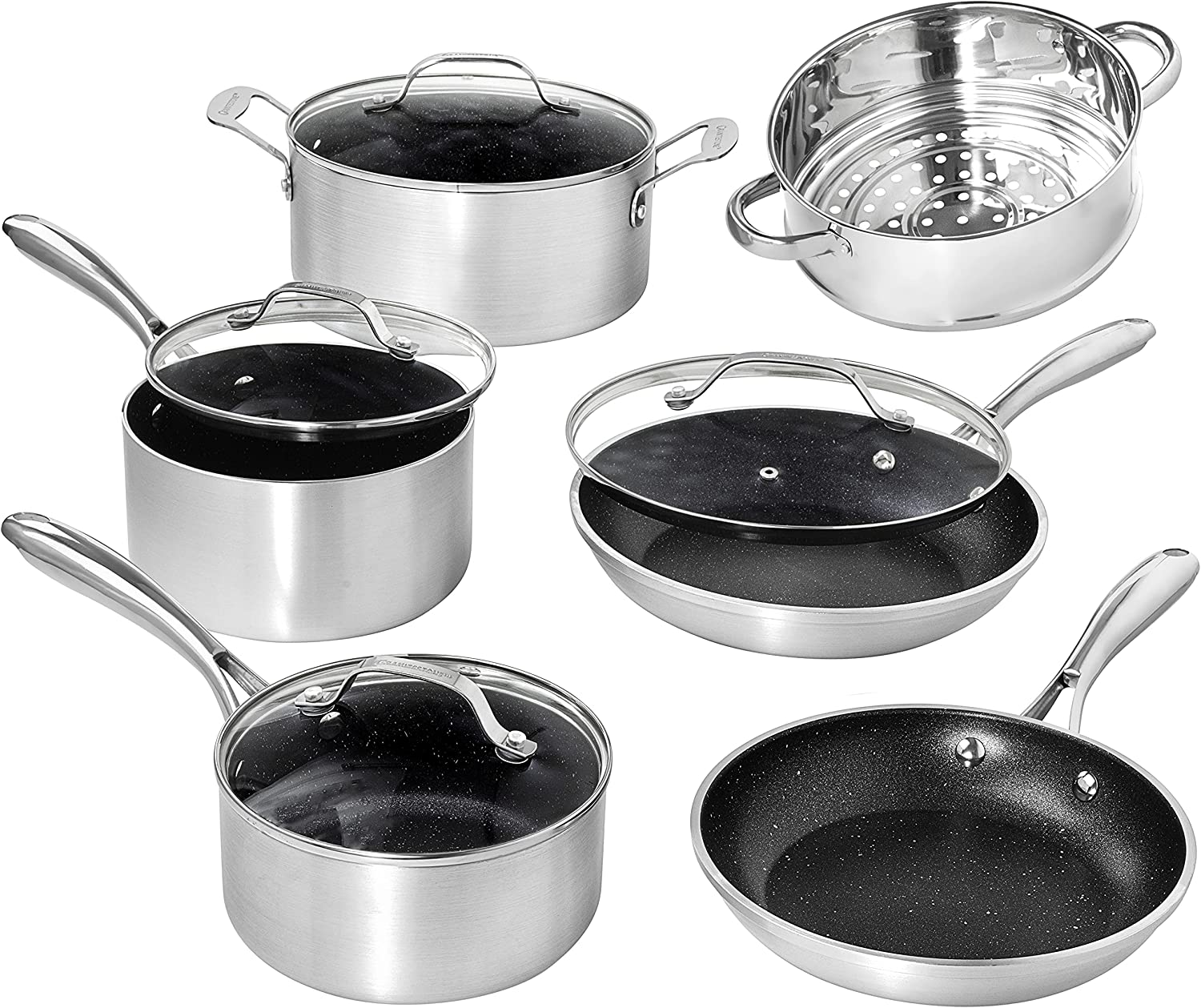 Granite Stone Cookware Sets Nonstick Pots and Pans Set– 10pc Kitchen Cookware Sets Cookware Pots and Pans for Cooking Pan Set Granitestone Silver Cookware Set Non Sticking Pan Set – Dishwasher Safe