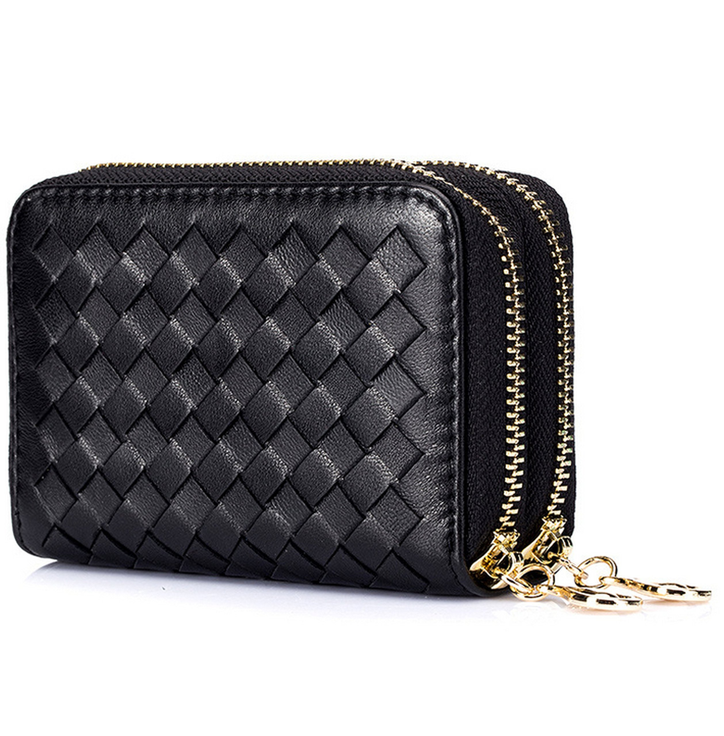 Women's RFID Blocking Leather Secure Credit Card Holder Zipper Wallet, Free Keychain and Gift Box, Black, b6w009bk