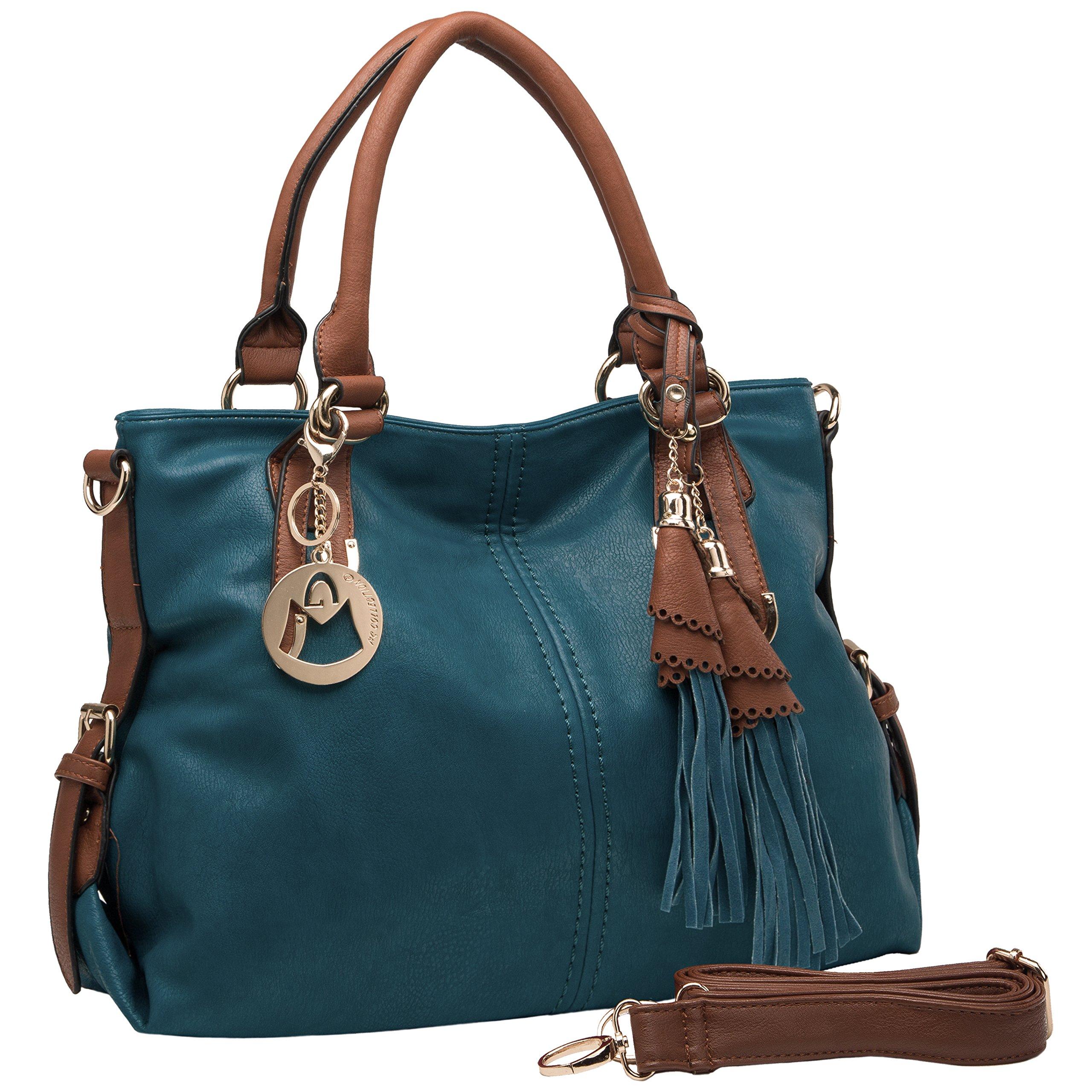 MG Collection THALIA Top Handle Tassel Decor Hobo Style Tote Purse/Shoulderbag
