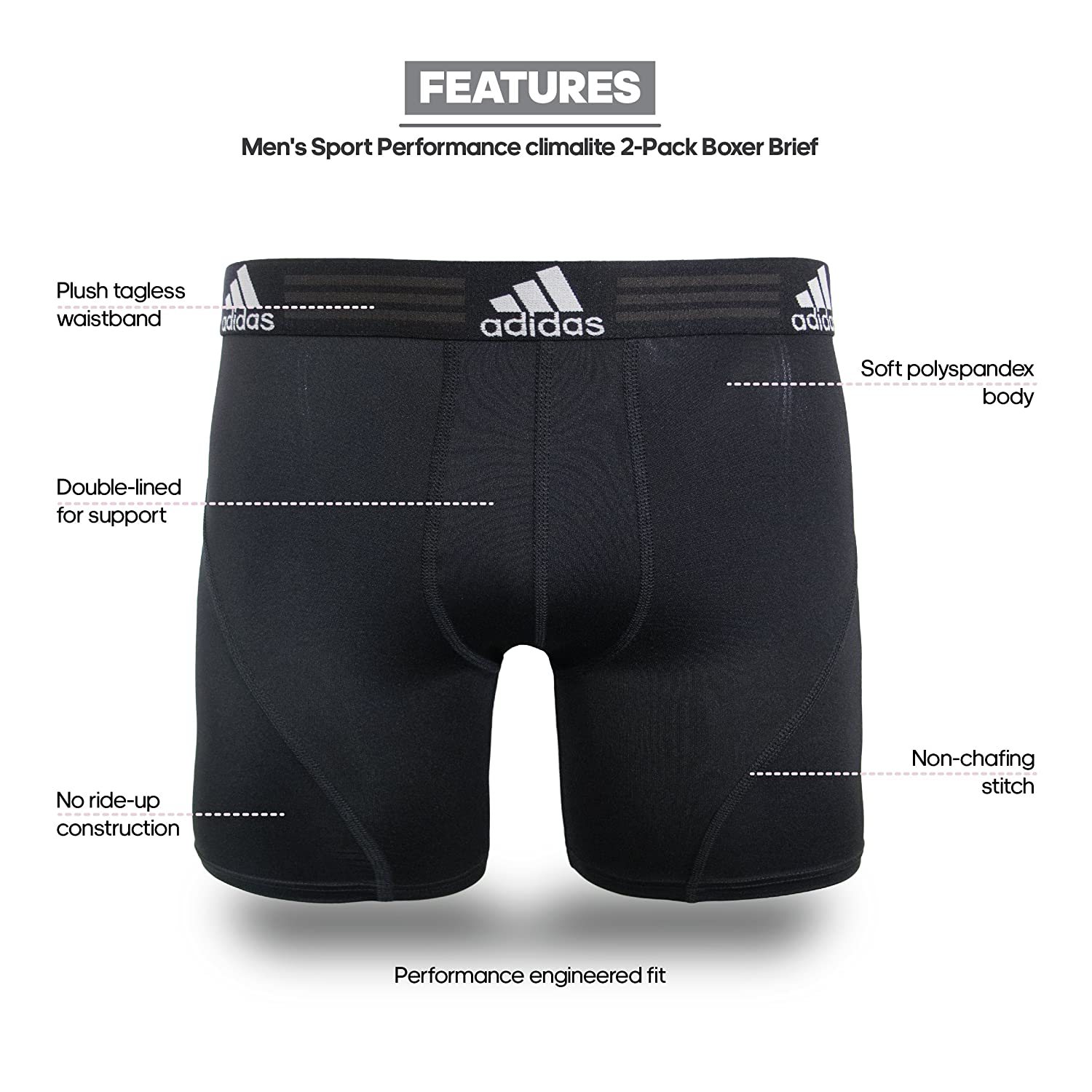 a0a229ea208e3 Amazon.com: adidas Men's Sport Performance Climalite Boxer Brief Underwear  (2 Pack): Clothing