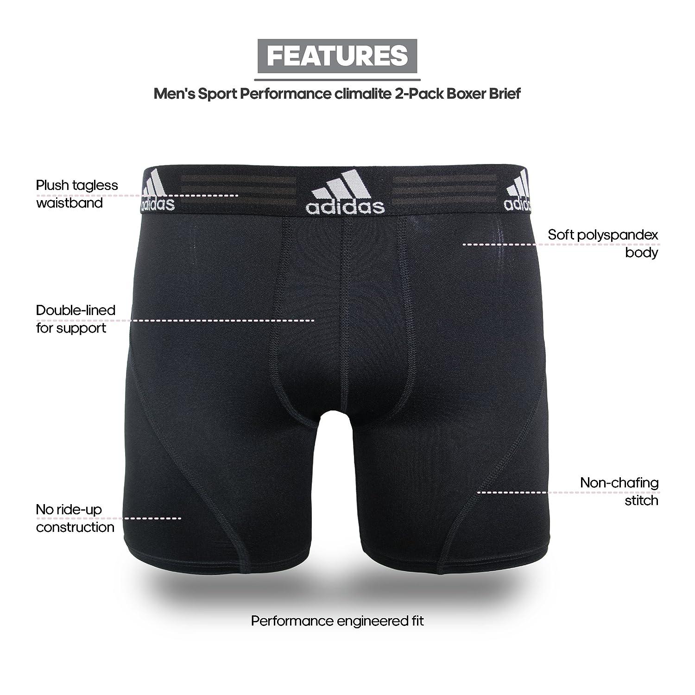 bdc924968e71 Amazon.com: adidas Men's Sport Performance Climalite Boxer Brief Underwear  (2 Pack): Clothing