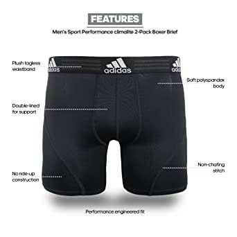 d085e9379 Amazon.com: adidas Men's Sport Performance Climalite Boxer Brief Underwear  (2 Pack): Clothing
