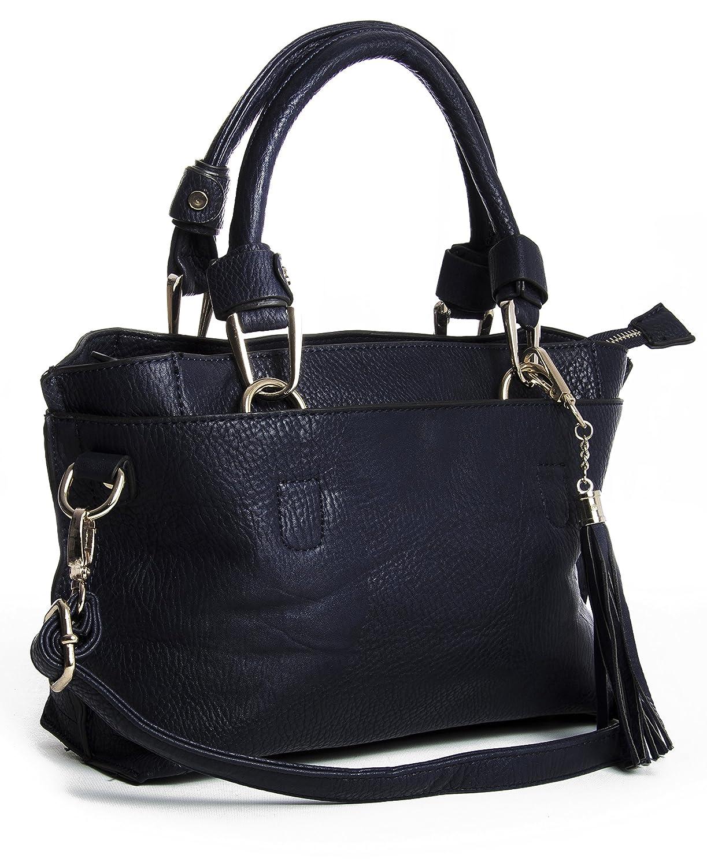 Big Handbag Shop Womens Vegan Leather Small Multi Pockets Satchel Shoulder Tassel Bag (Black): Handbags: Amazon.com