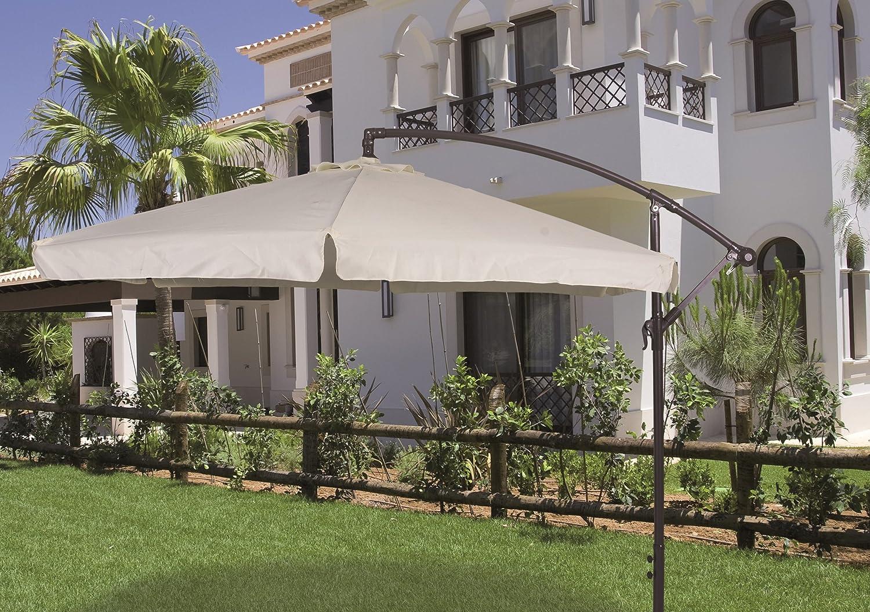 Perfetto per Giardino e Terrazze Enrico Coveri Ombrellone Beige da Esterno e Giardino 3x3 MT Con Palo Laterale